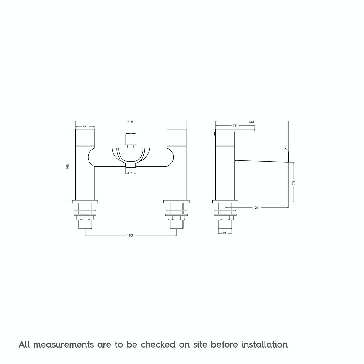 Dimensions for Orchard Eden waterfall bath shower mixer tap