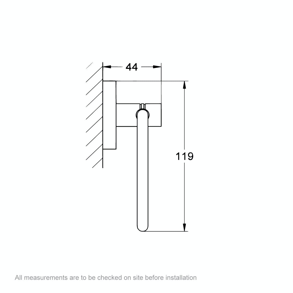 Dimensions for Grohe Essentials toilet roll holder