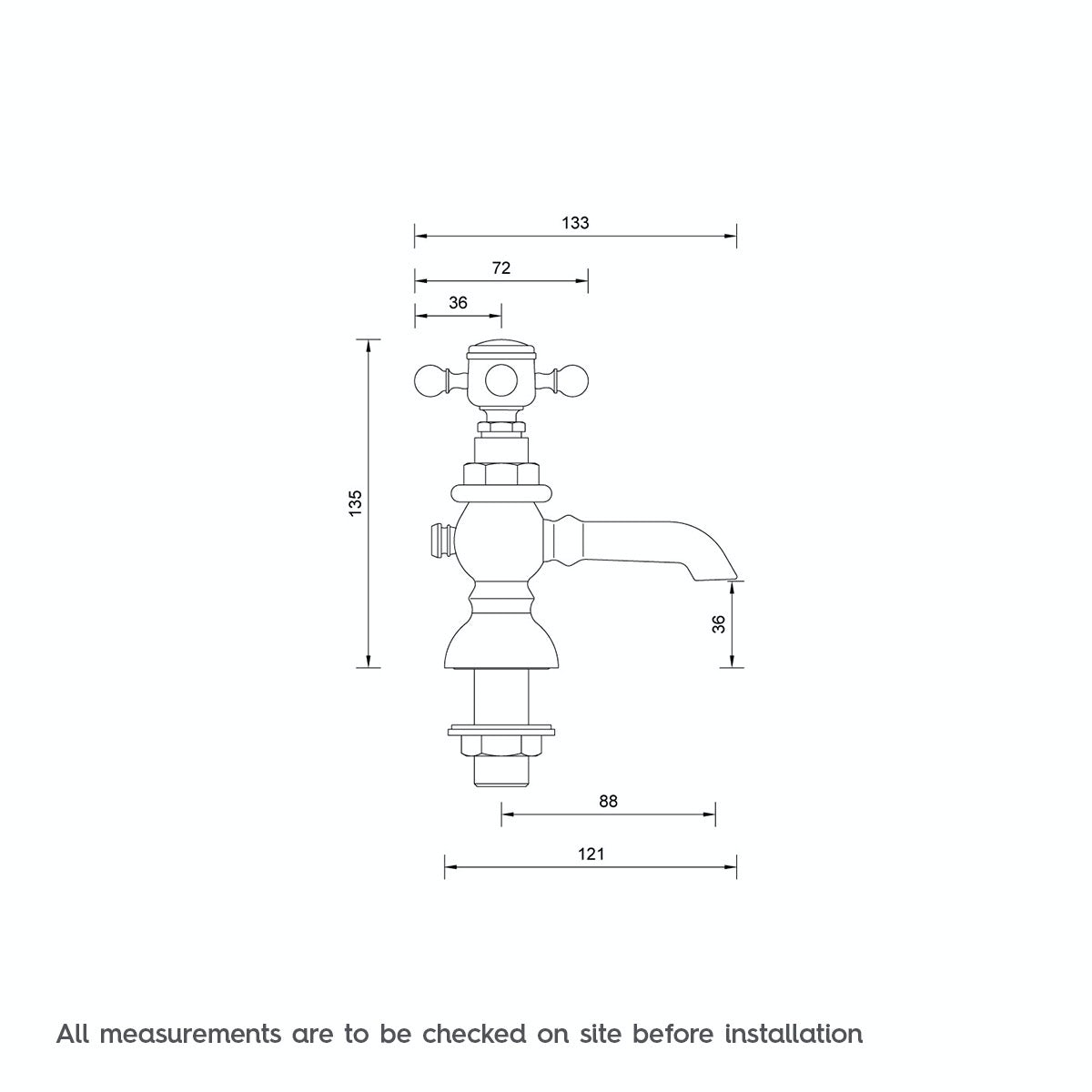 Dimensions for The Bath Co. Coniston basin pillar taps