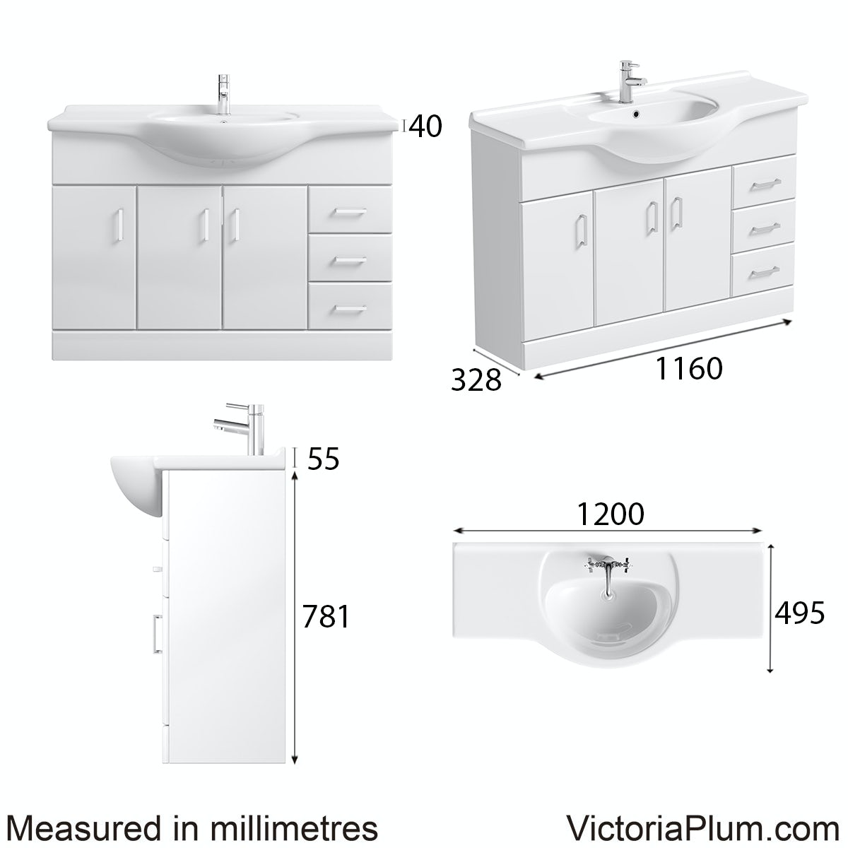 Dimensions for Orchard Eden white vanity unit and basin 1200mm