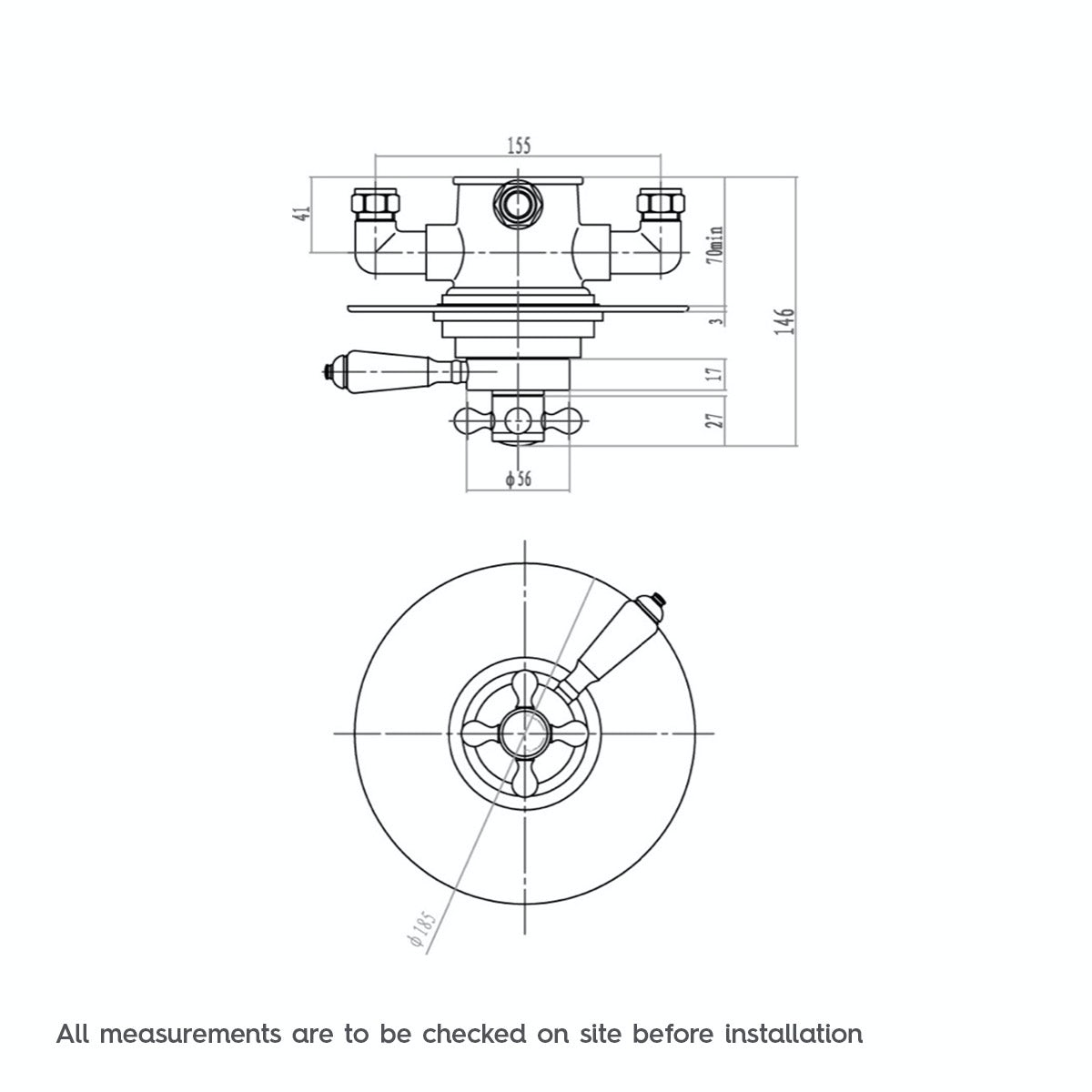 Dimensions for The Bath Co. Dulwich thermostatic concealed shower valve