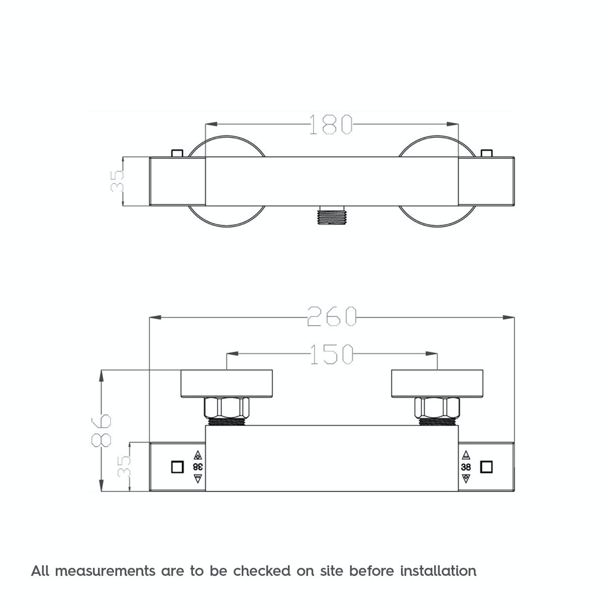 Dimensions for Orchard Quadra thermostatic bar shower valve