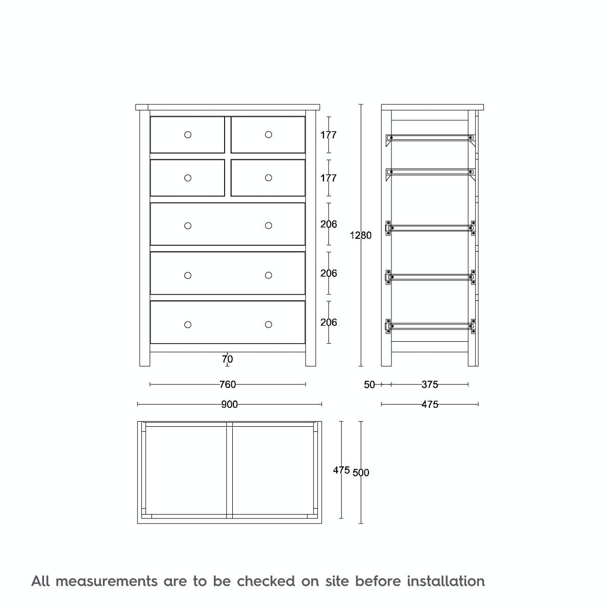 Dimensions for MFI Rome oak and mellow sage 4 over 3 Drawer Chest
