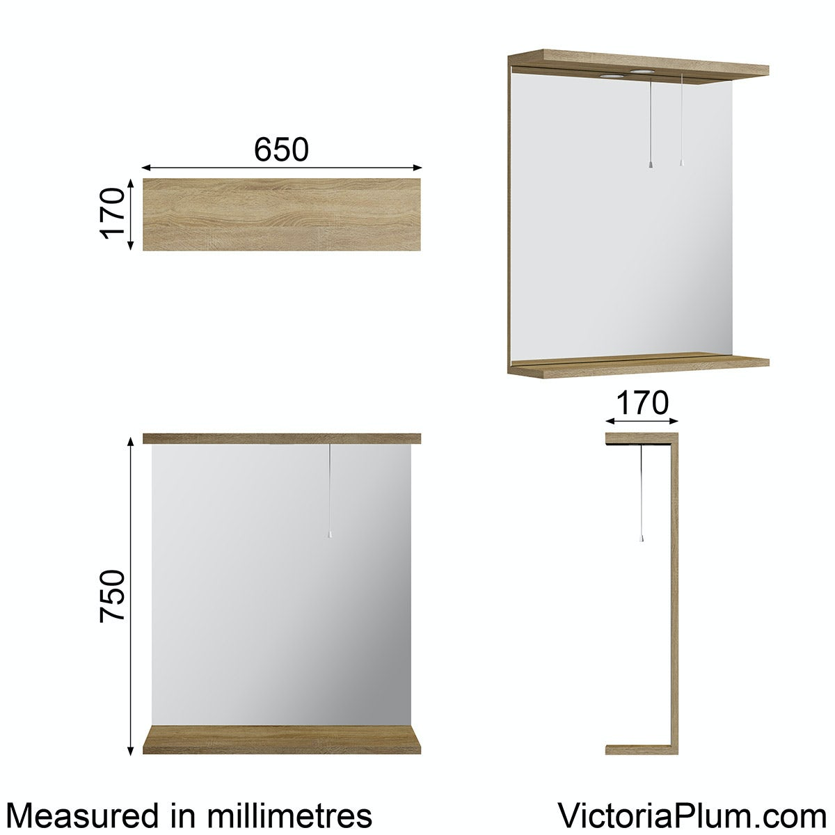 Dimensions for Sienna oak bathroom mirror with lights 650mm