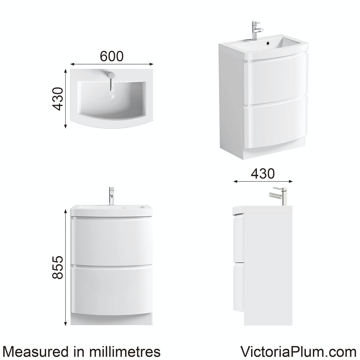 Dimensions for Mode Harrison snow vanity unit and basin 600mm
