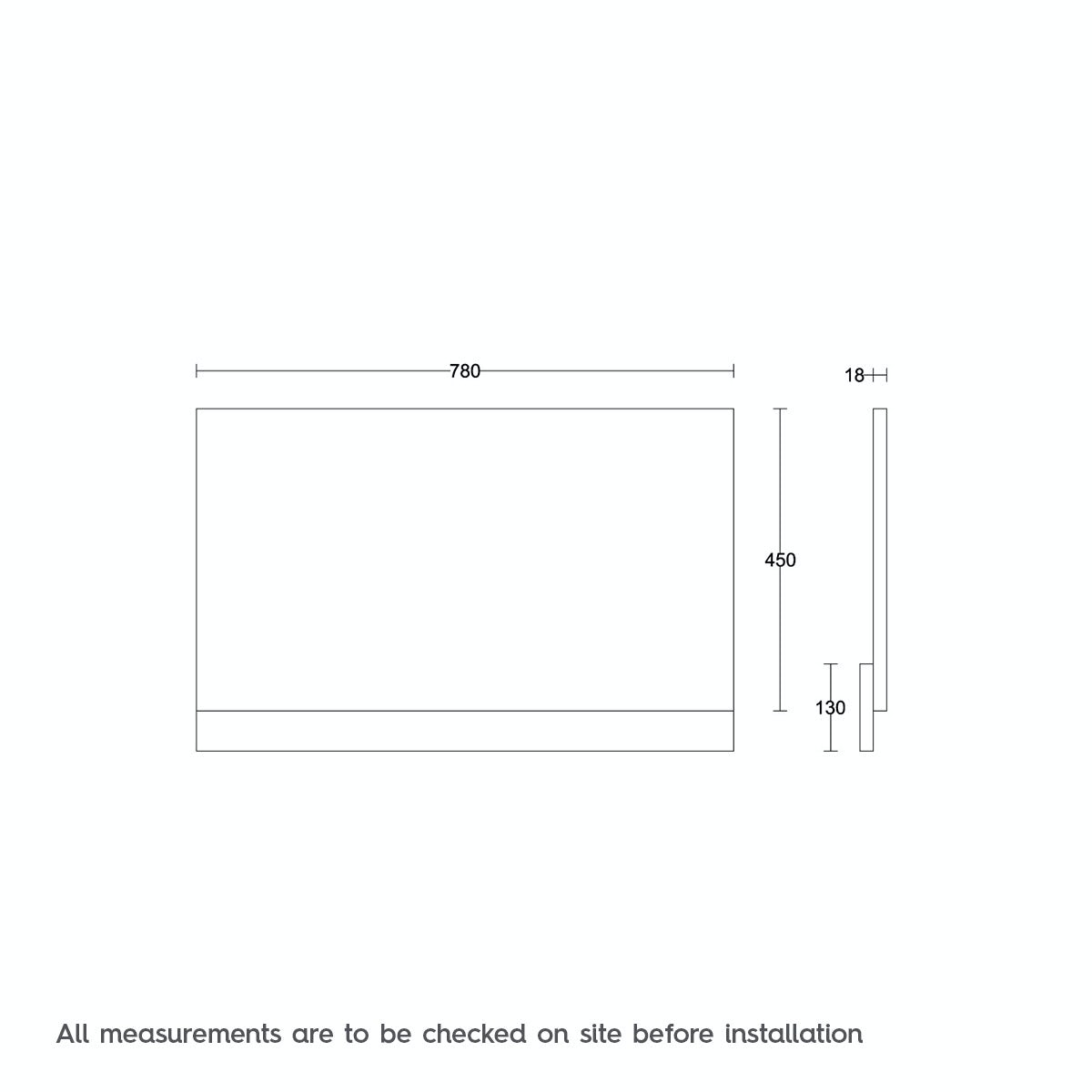 Dimensions for Orchard White wooden straight bath end panel 800mm
