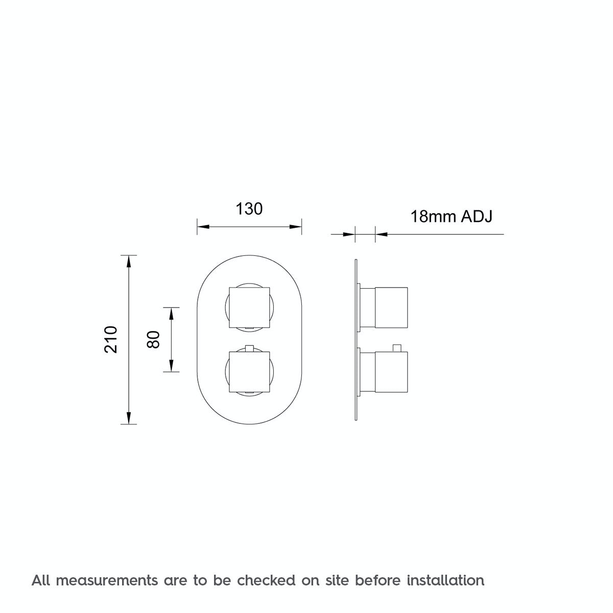 Dimensions for Mode Cubik oval twin thermostatic shower valve with diverter