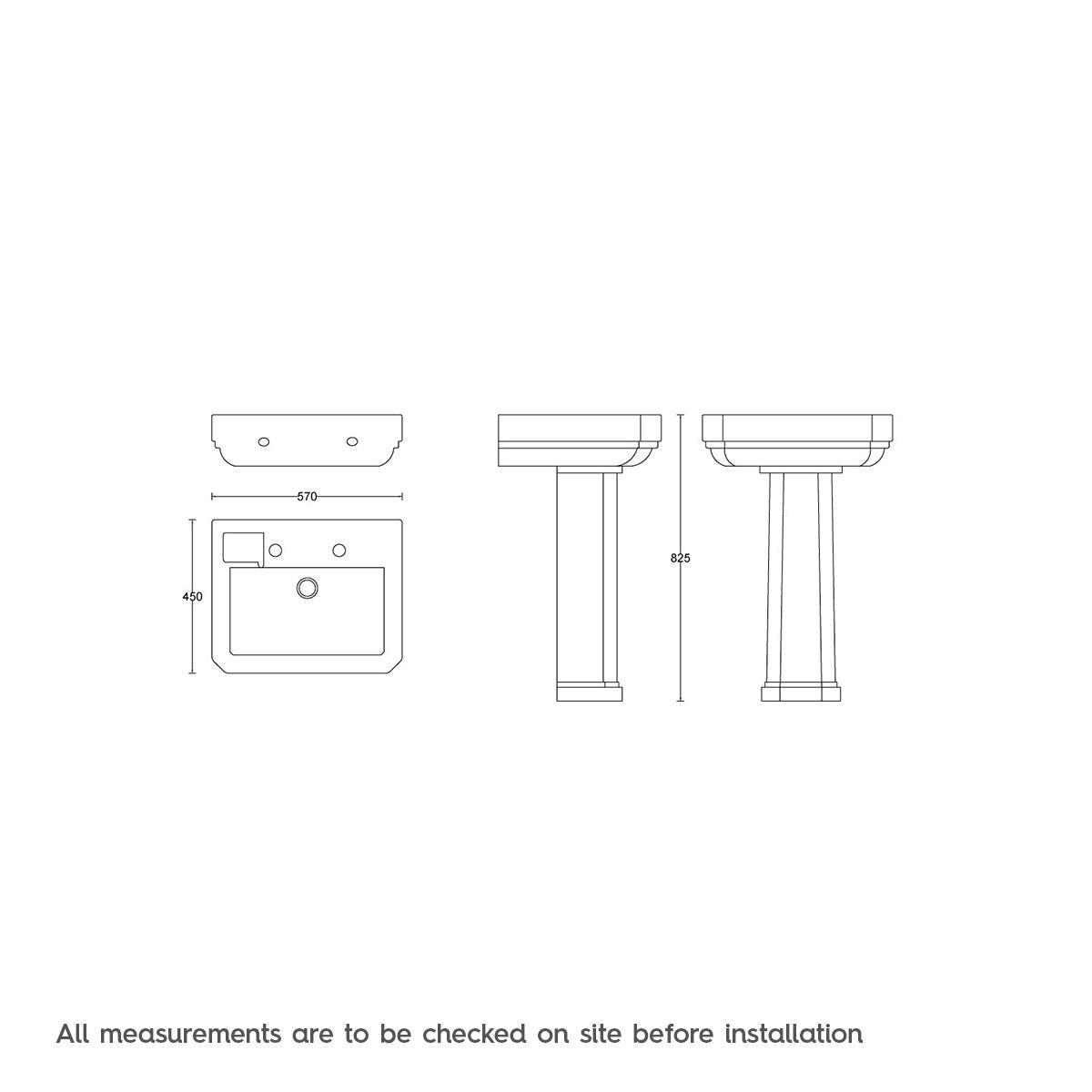 Dimensions for Regency 2 tap hole full pedestal basin 580mm