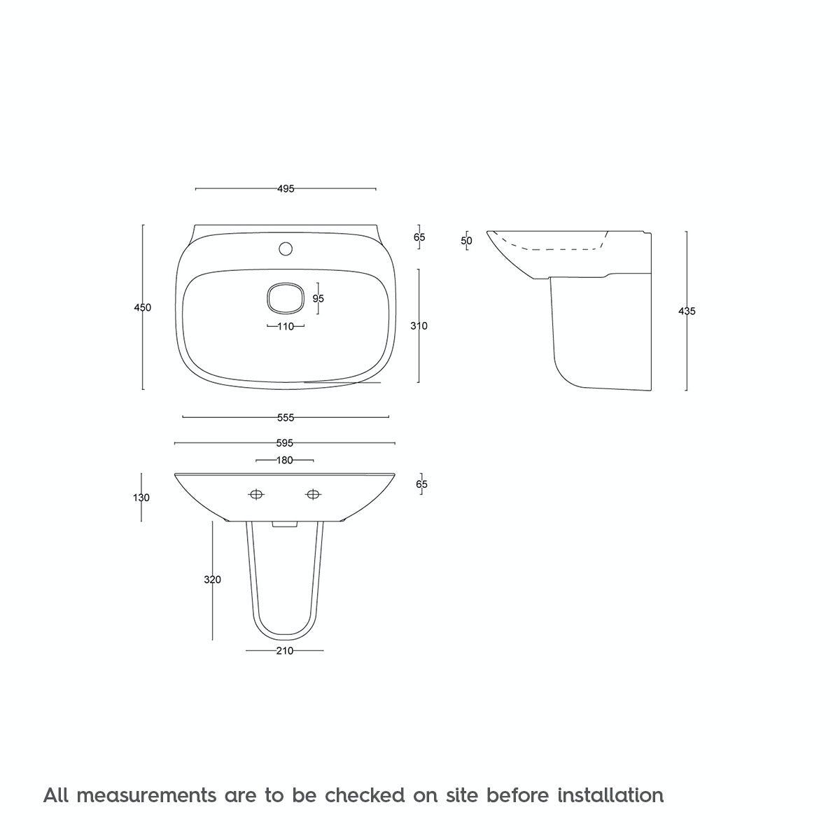 Dimensions for Mode Heath 1 tap hole semi pedestal basin 600mm