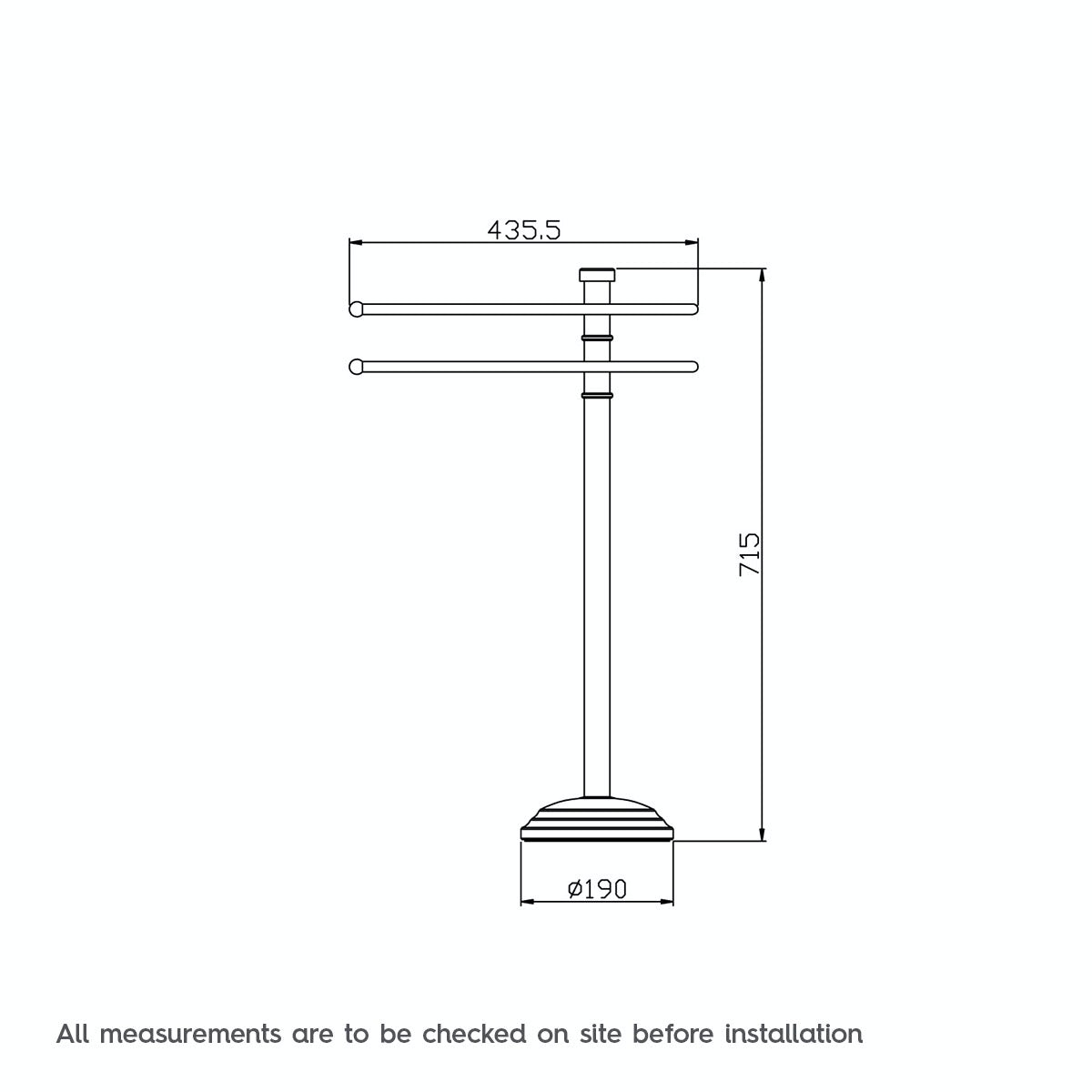 Dimensions for The Bath Co. Traditional freestanding towel rail