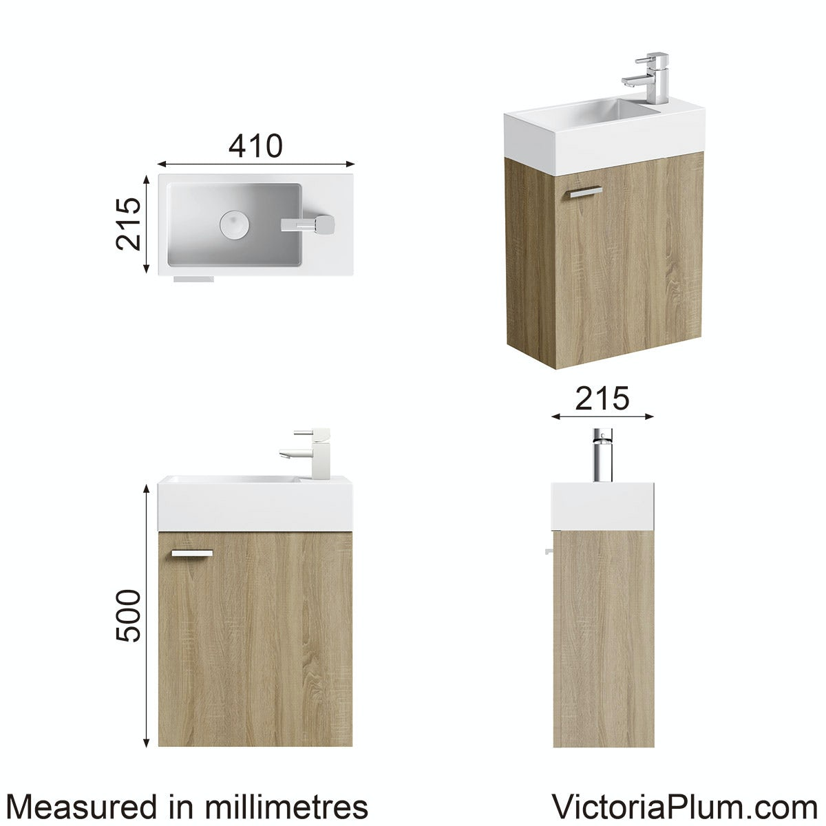 Dimensions for Clarity Compact oak wall hung cloakroom unit with basin 410mm