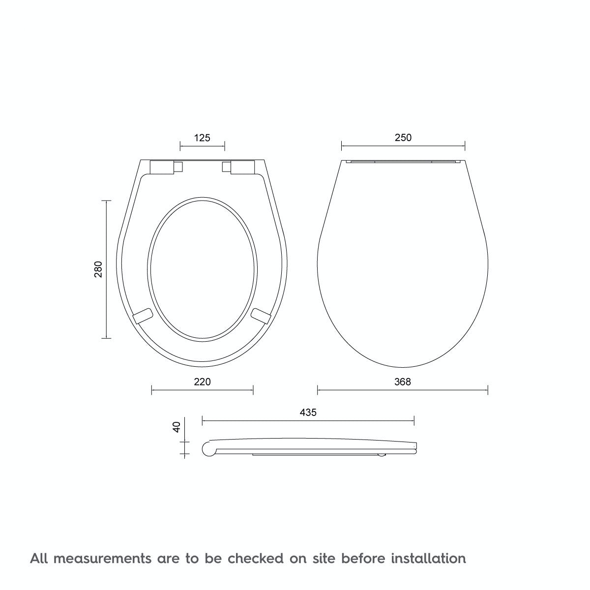 Dimensions for Universal Thermoset Top Fix Toilet Seat with Stainless Steel Soft Close and Lift Off