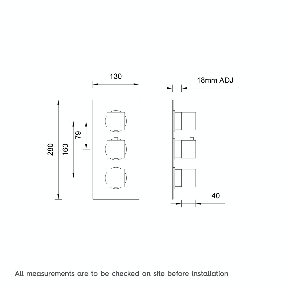 Dimensions for Mode Cubik square triple thermostatic shower valve with diverter