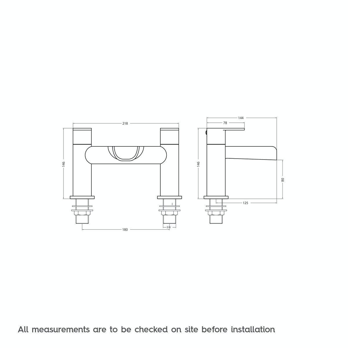 Dimensions for Orchard Eden waterfall bath mixer tap