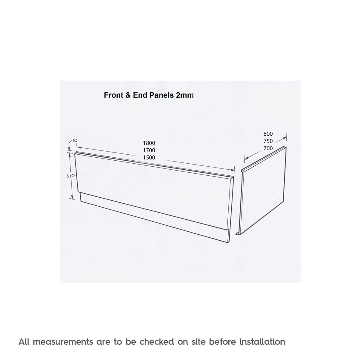Dimensions for Orchard Acrylic straight bath front panel 1800mm