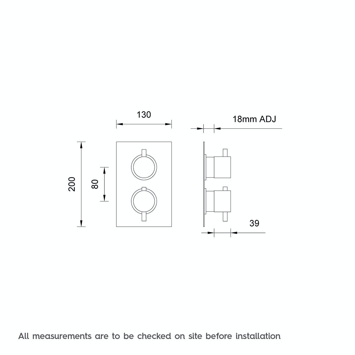 Dimensions for Mode Matrix square twin thermostatic shower valve with diverter