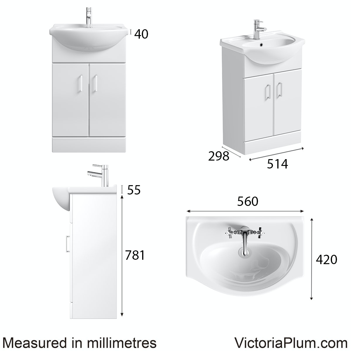 Dimensions for Orchard Eden white vanity unit and basin 550mm