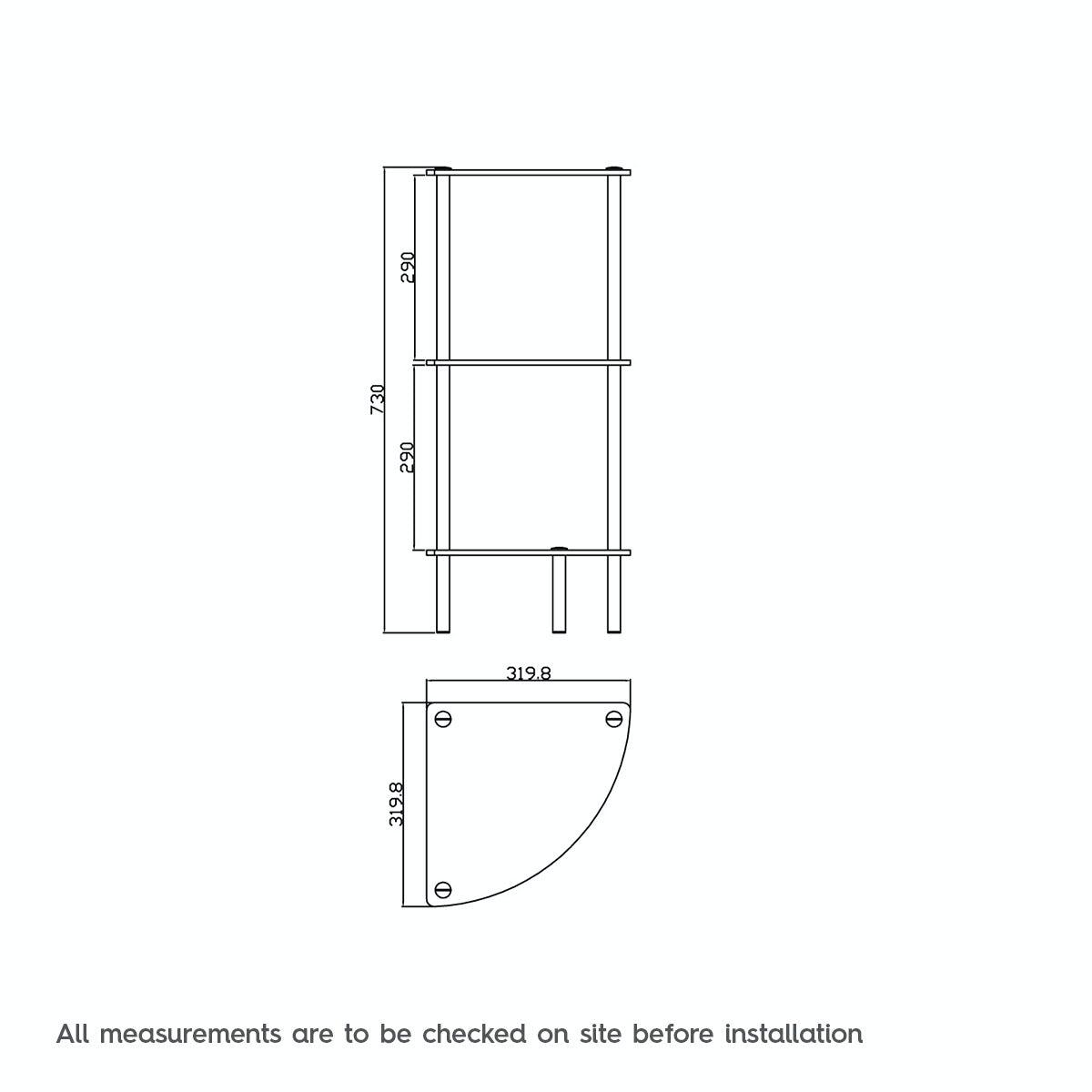 Dimensions for Orchard Options freestanding quadrant 3 glass shelf unit