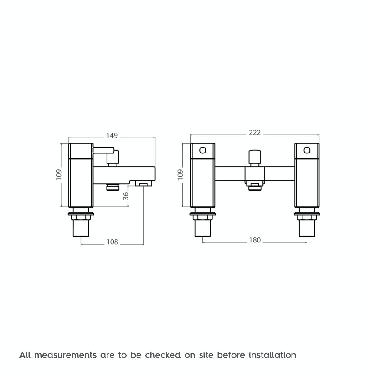 Dimensions for Orchard Derwent bath shower mixer tap