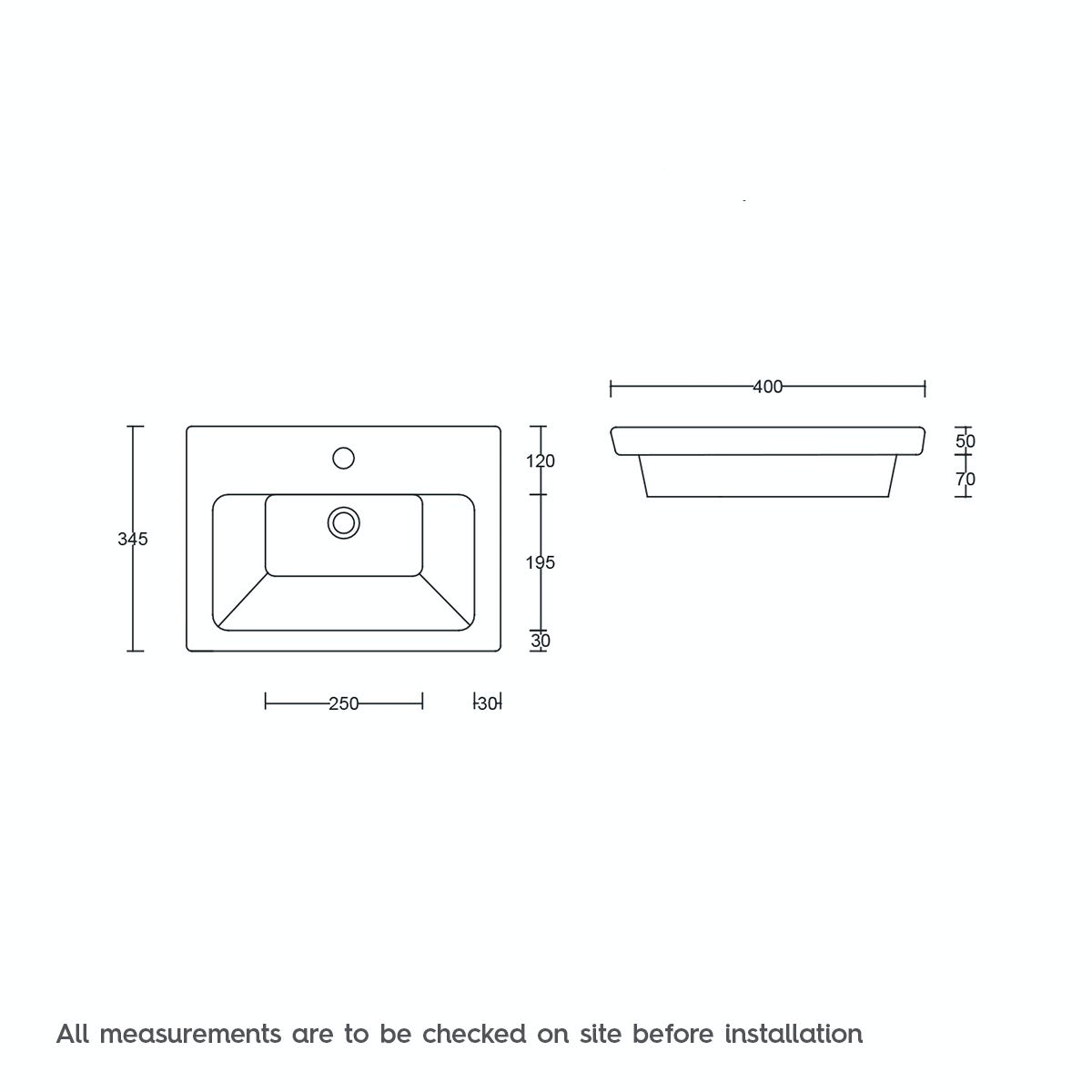 Dimensions for Mode Verso 1 tap hole wall hung basin 400mm