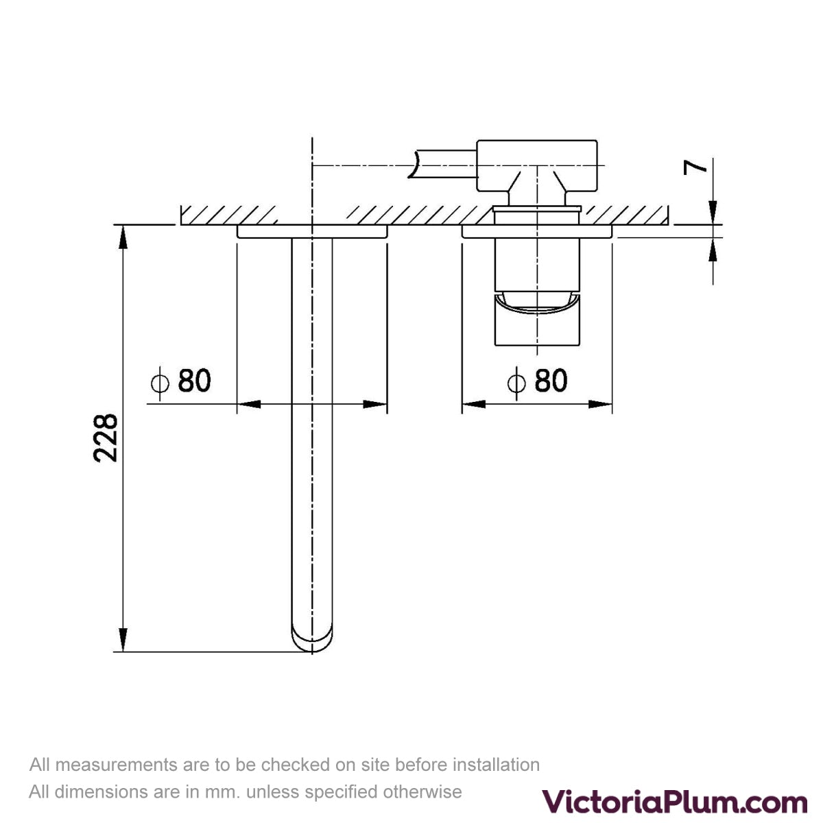 Dimensions for Mode Spencer round wall mounted rose gold bath mixer tap