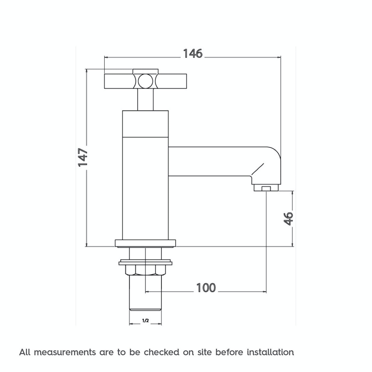 Dimensions for Mode Tate bath pillar taps