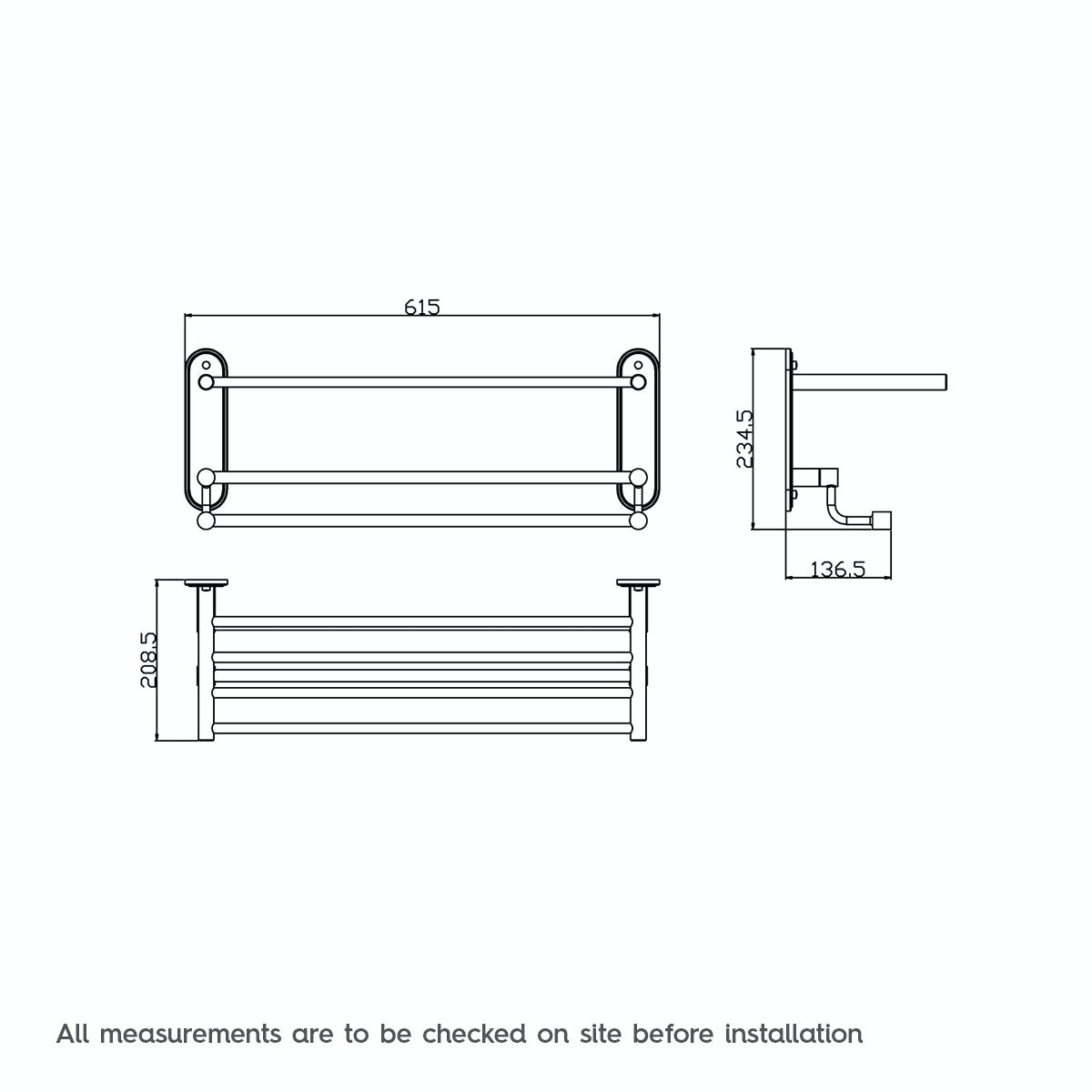 Dimensions for Orchard Options traditional towel shelf