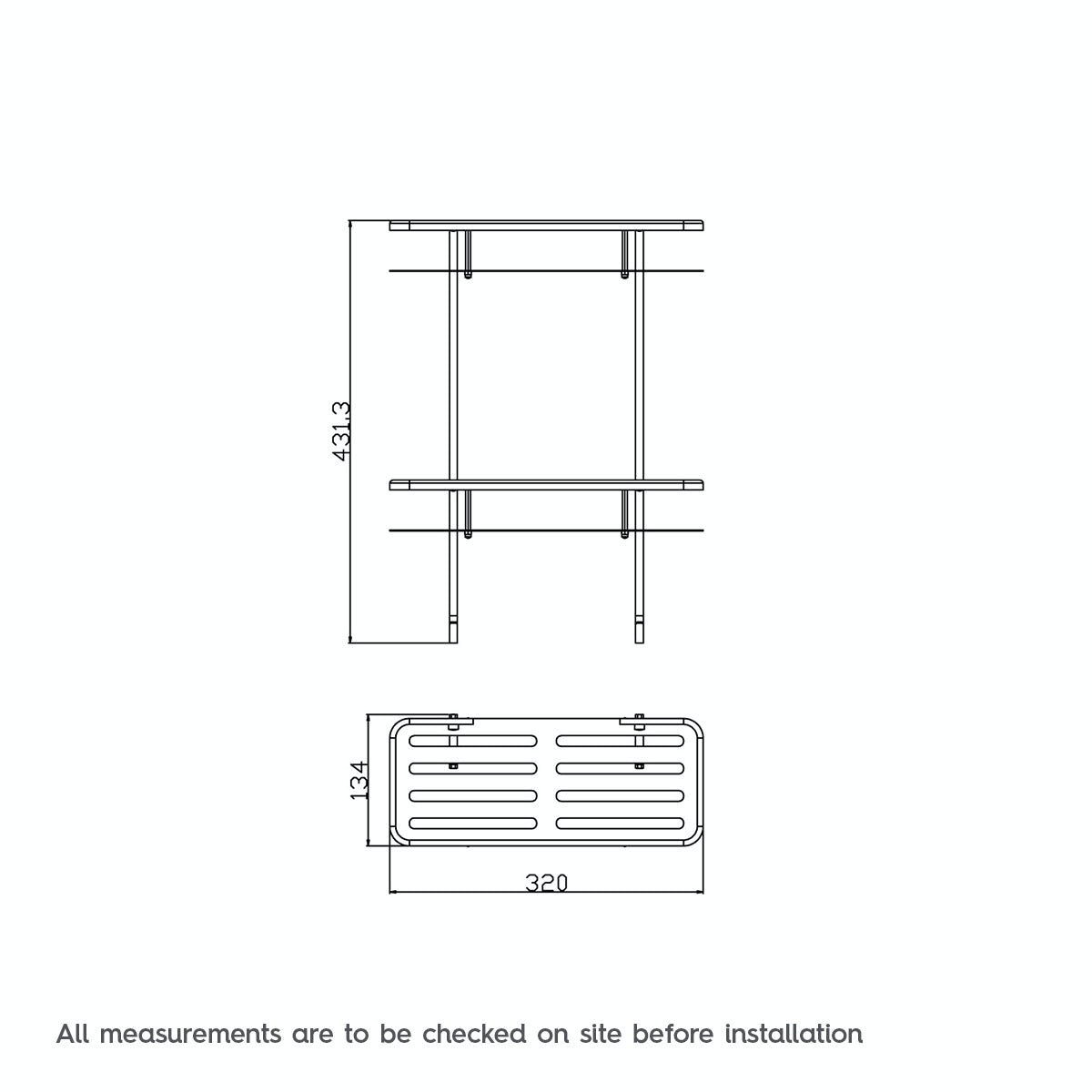 Dimensions for Orchard Options brass double shower caddy