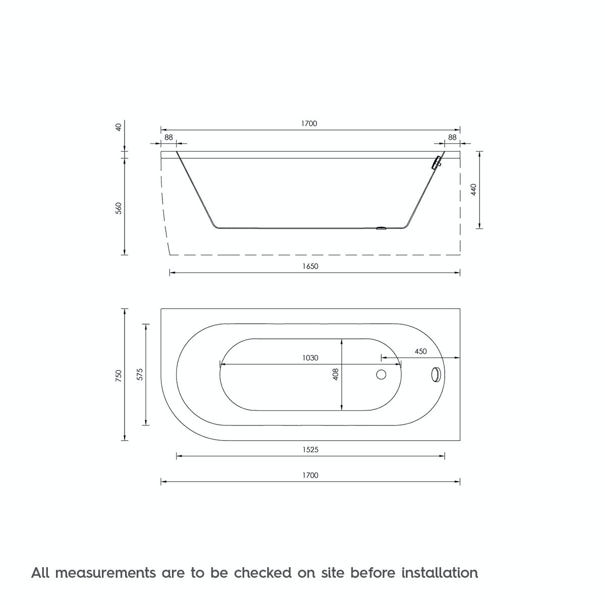 Dimensions for Orchard Elsdon D shaped right handed single ended bath