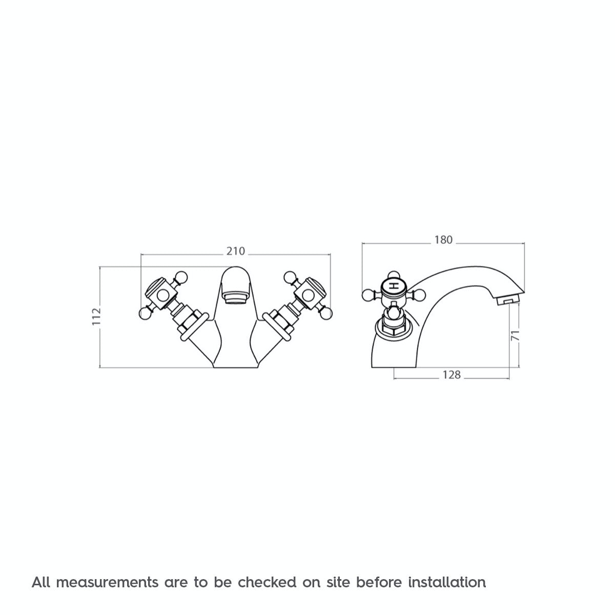 Dimensions for The Bath Co. Coniston basin mixer tap