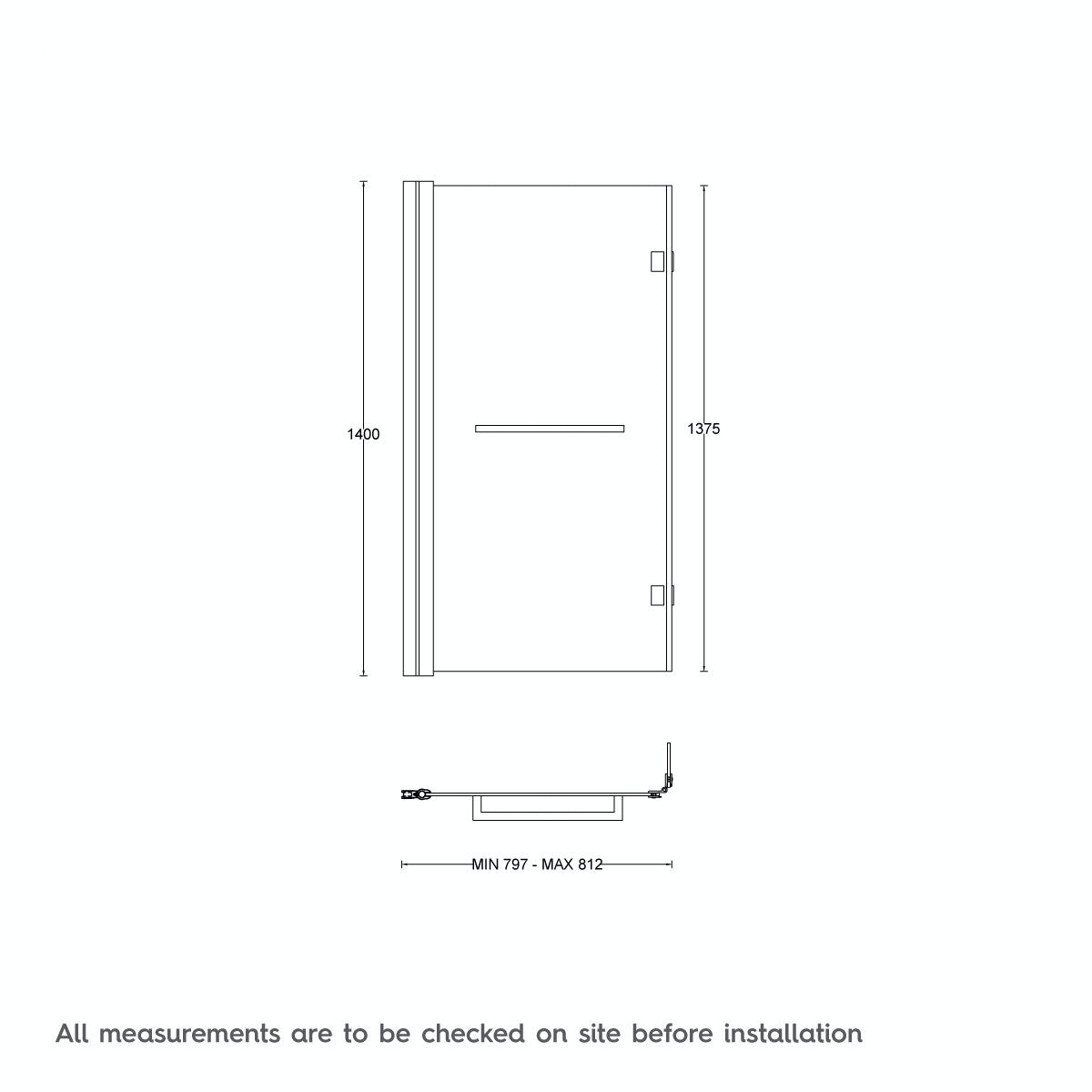 Dimensions for Mode luxury 8mm hinged L shaped shower bath screen with rail