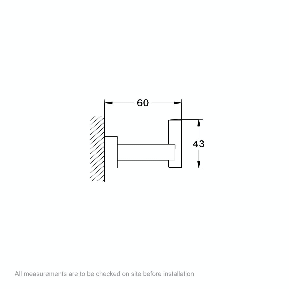 Dimensions for Grohe Essentials Cube robe hook