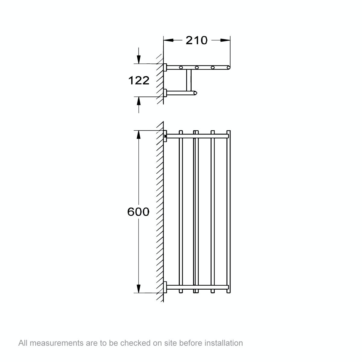 Dimensions for Grohe Essentials Cube multi-towel rail 600 mm
