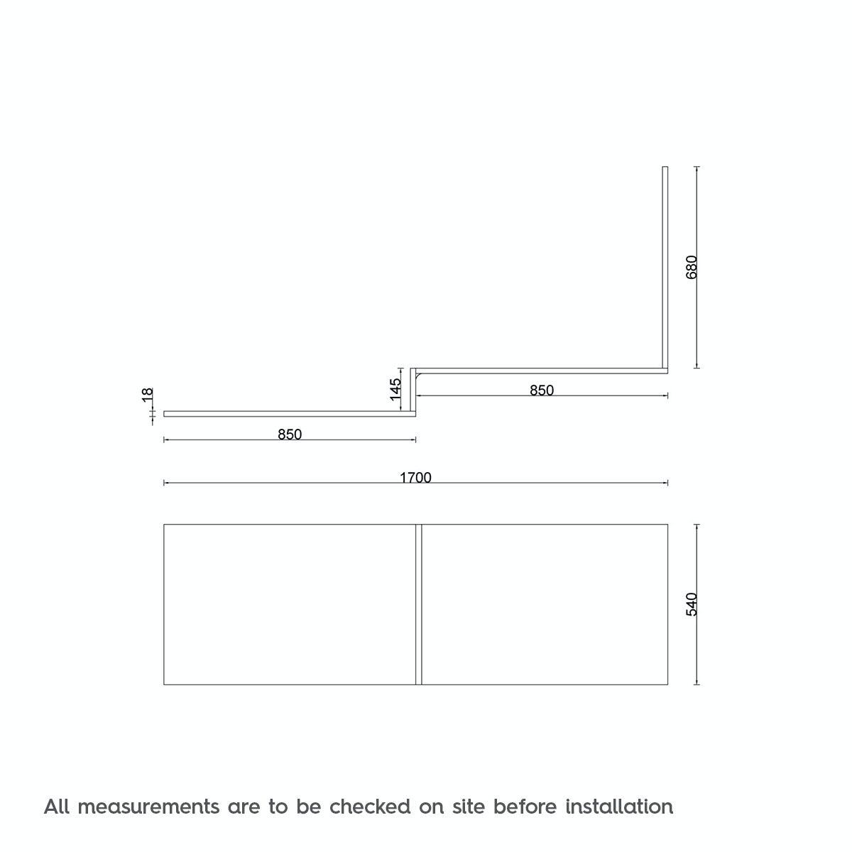 Dimensions for L shaped shower bath wooden panel oak effect 1700mm