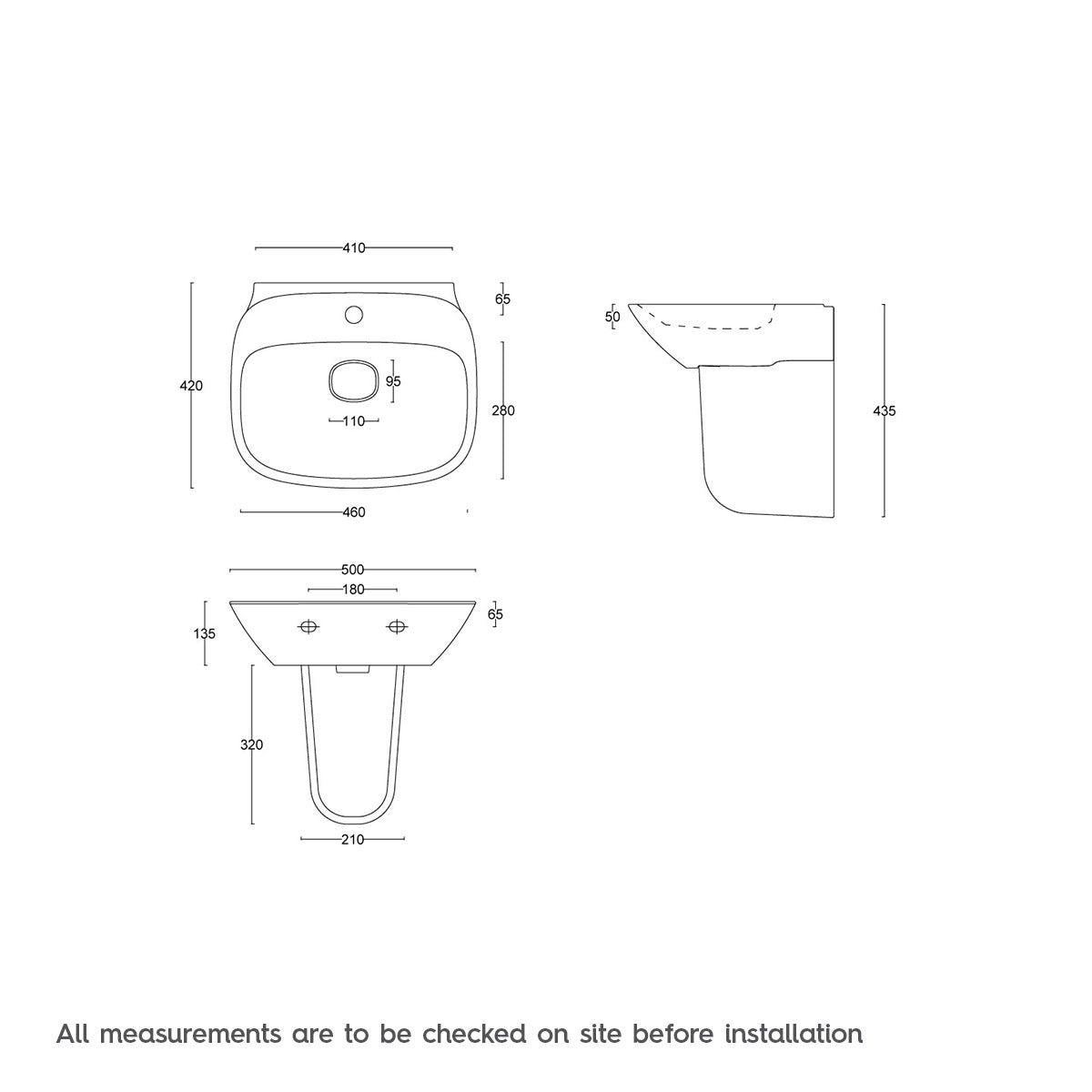 Dimensions for Mode Heath 1 tap hole semi pedestal basin 500mm