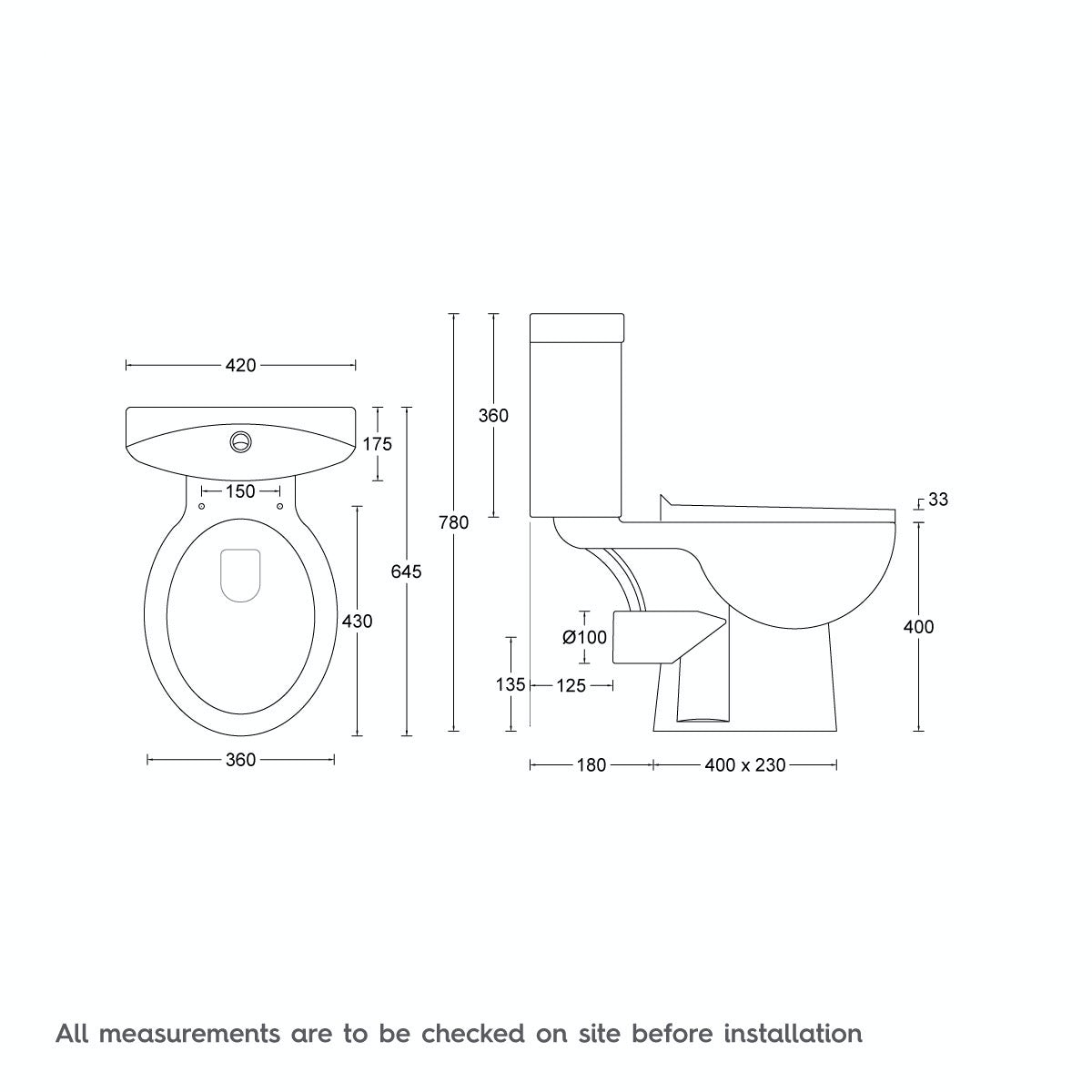 Dimensions for Clarity close coupled toilet with seat