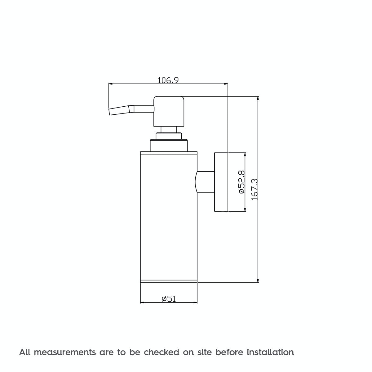 Dimensions for Orchard Options wall mounted slim stainless steel soap dispenser