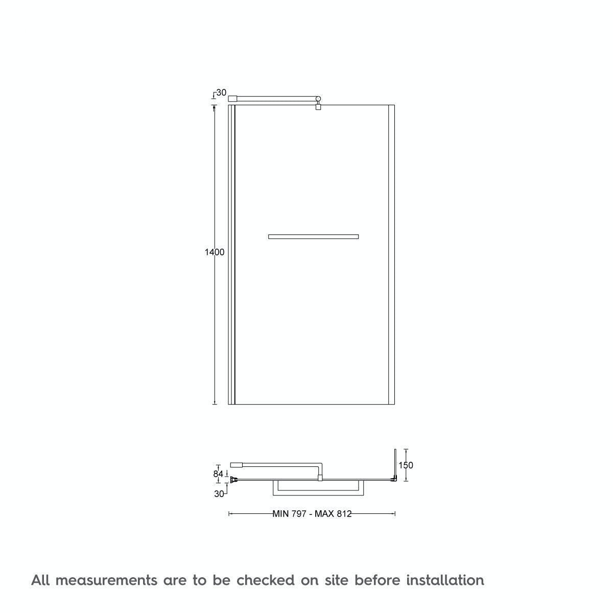 Dimensions for Orchard 6mm L shaped shower bath screen with rail