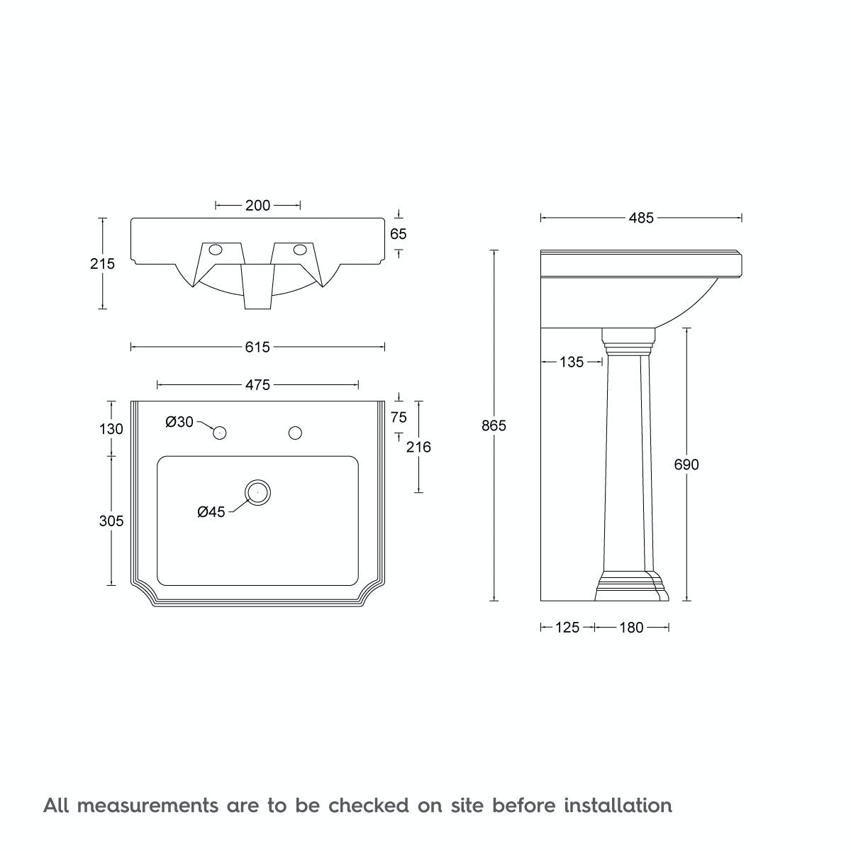 Dimensions for The Bath Co. Dulwich 2 tap hole full pedestal basin 600mm