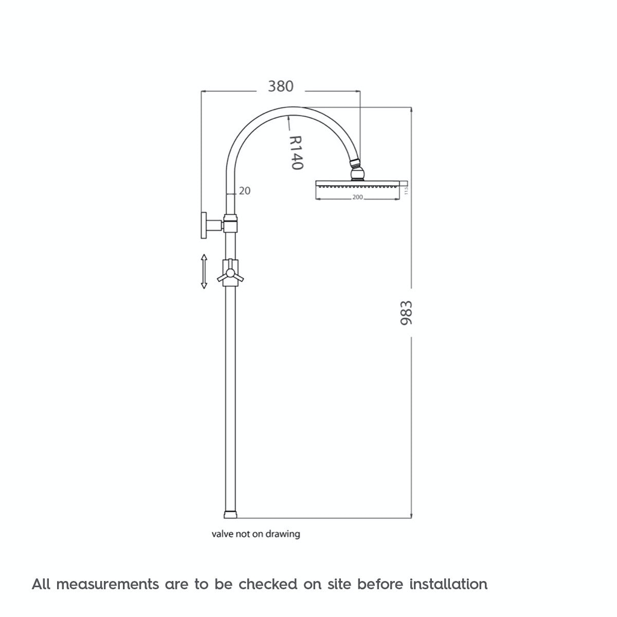 Dimensions for Orchard Matrix square shower riser system