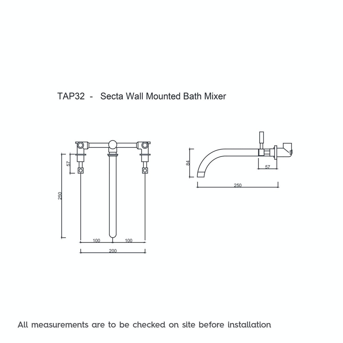 Dimensions for Mode Harrison wall mounted bath mixer tap