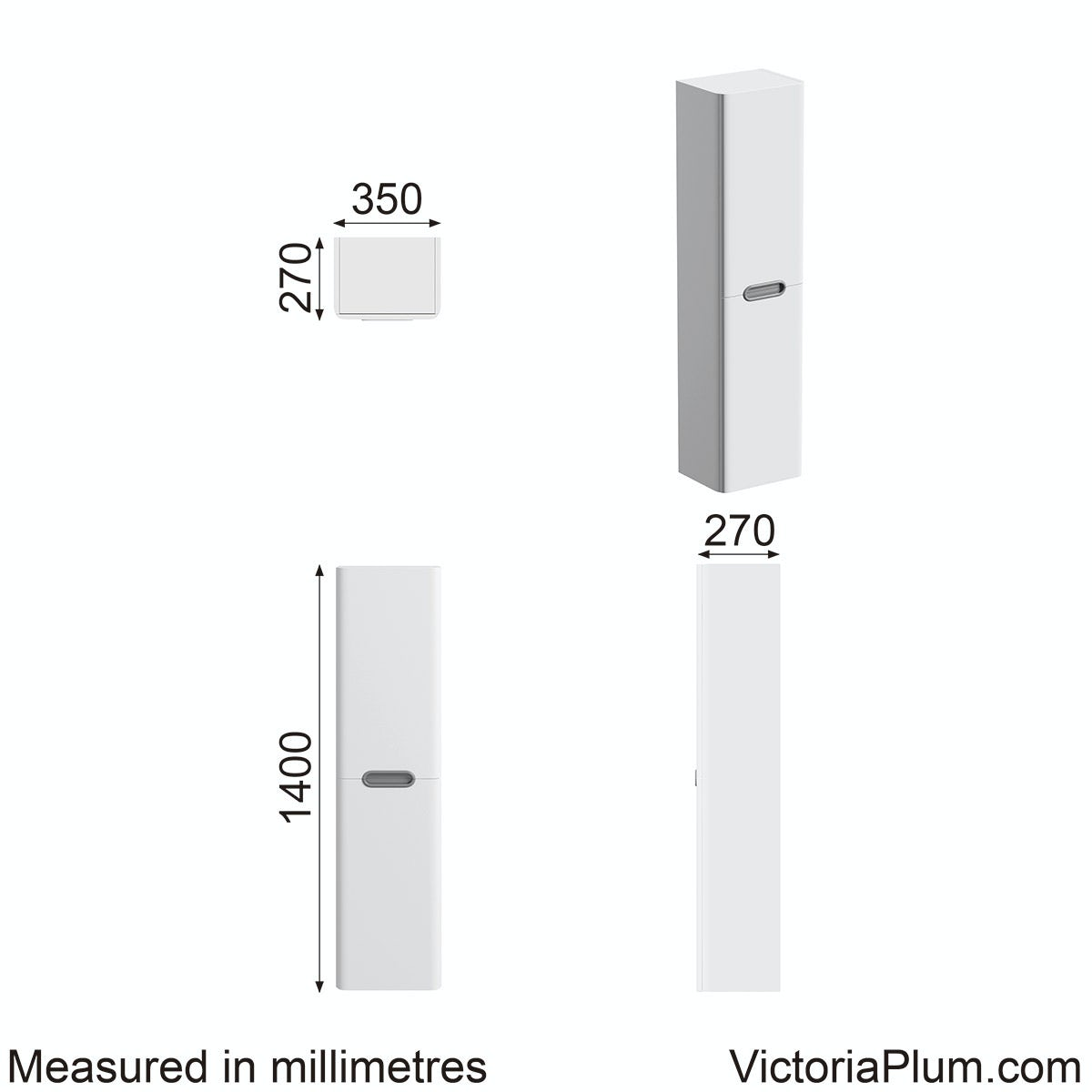 Dimensions for Mode Sherwood  wall mounted storage in White