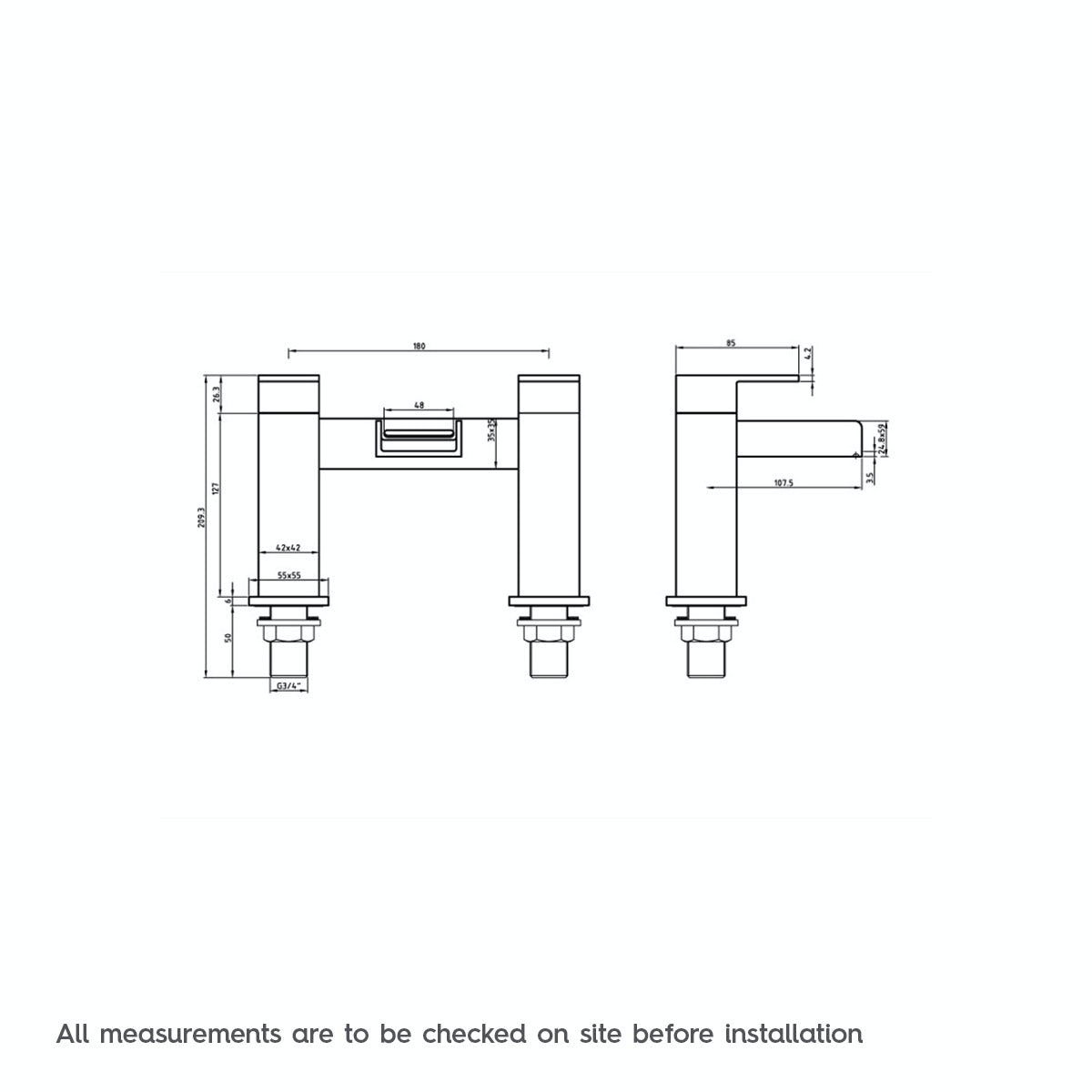 Dimensions for Mode Carter waterfall bath mixer tap