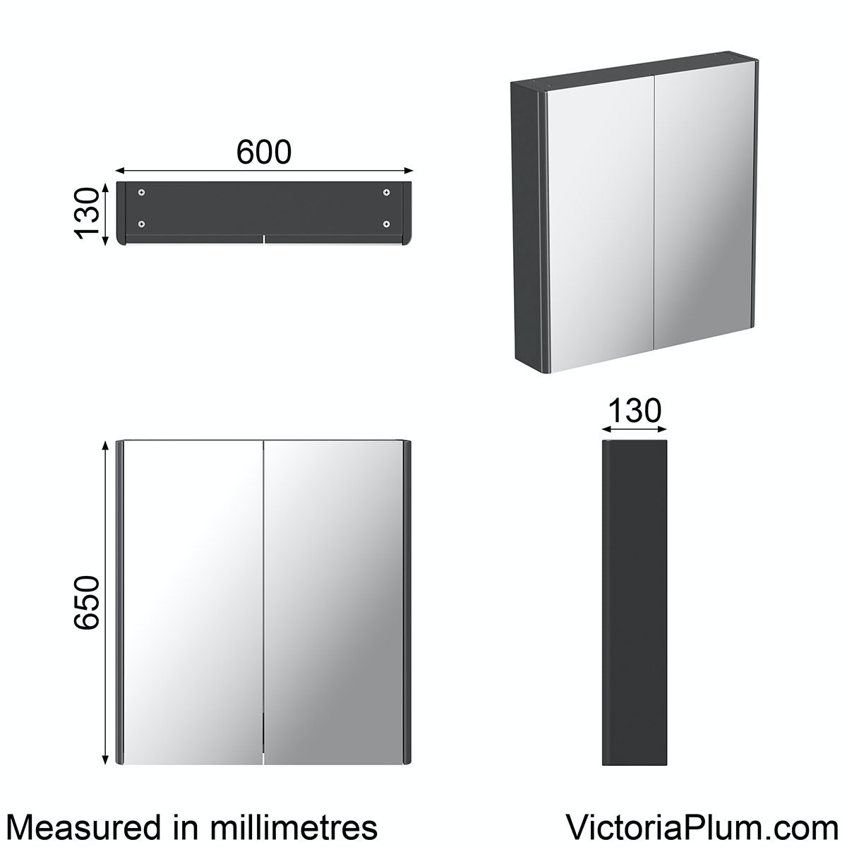 Dimensions for Mode grey curved mirror cabinet 600mm