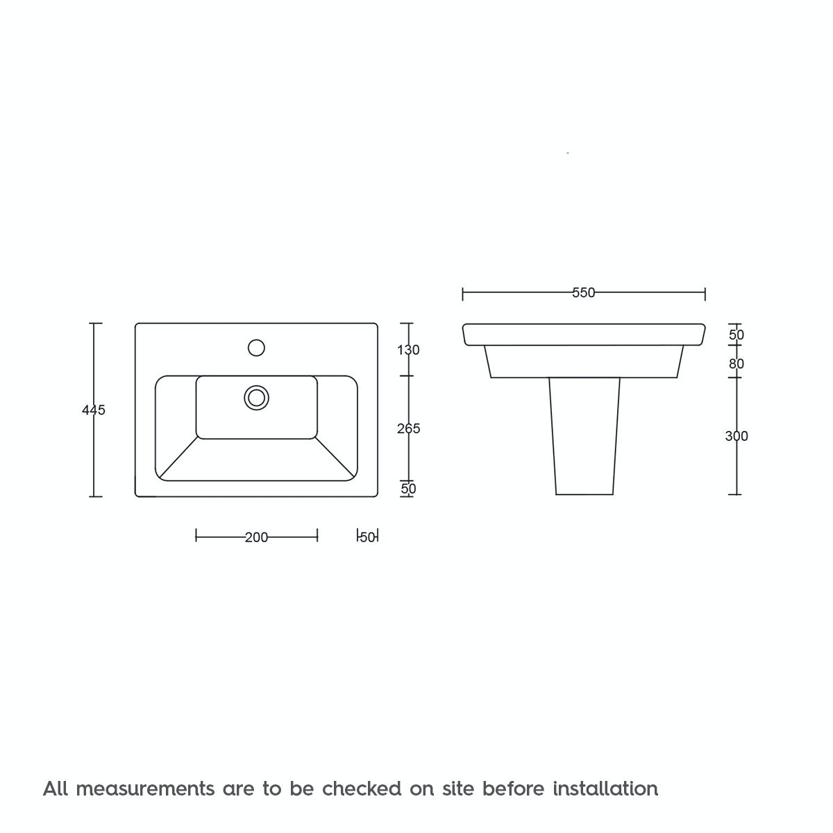 Dimensions for Mode Cooper 1 tap hole semi pedestal basin 550mm