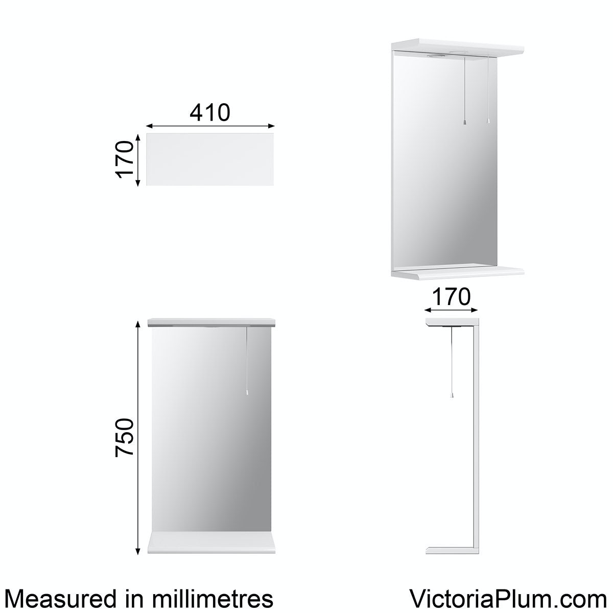 Dimensions for Sienna white bathroom mirror with lights 410mm