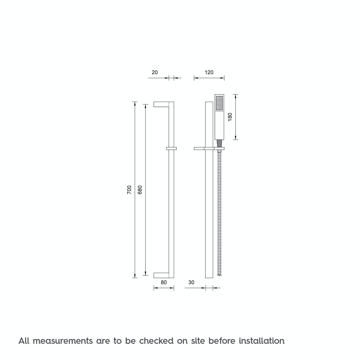 Dimensions for Mode Tetra sliding shower rail kit