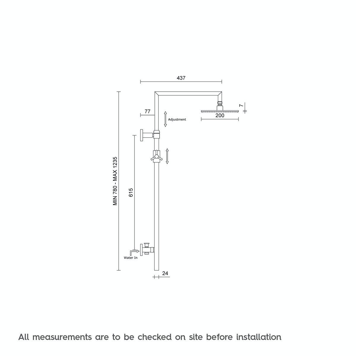 Dimensions for Mode Minimalist waifer round shower riser kit