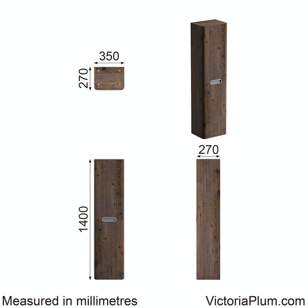 Dimensions for Mode Sherwood  wall mounted storage in Chestnut