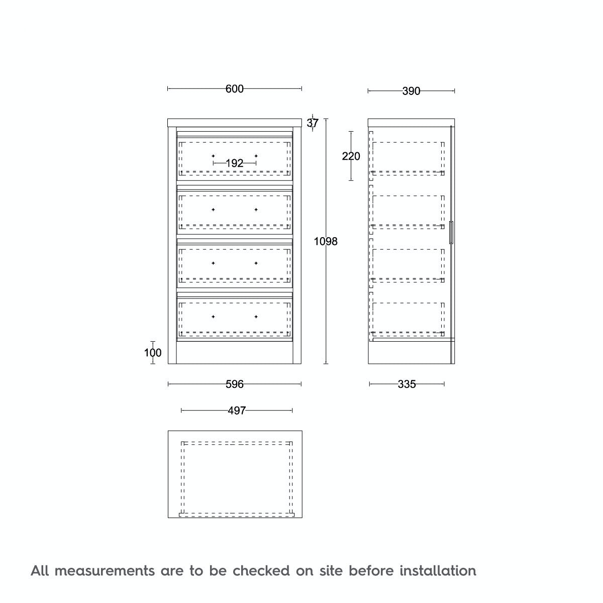 Dimensions for MFI London oak 4 drawer tall chest